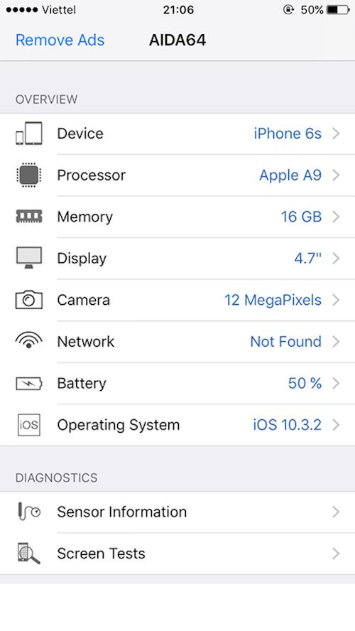 + Tại Device : Cho phép hiển thị tên iPhone mà bạn đang sở hữu. Khi nhấn  vào mục này, ứng dụng sẽ thể hiện thêm cho bạn các thông số khác như cổng  ...